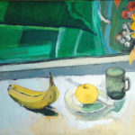 Bananas with Red Fish Vase, Apple and Cup - bowmanoilpaintings.co.uk