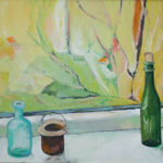 Bottles and Bucket Pot with View - bowmanoilpaintings.co.uk