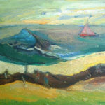 Pink Yacht Near Wreck- bowmanoilpaintings.co.uk