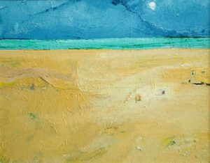Sands of Time: Moon and Shapes in the Sand - bowmanoilpaintings.co.uk