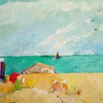 Edwardian Beach Scene with Red Parasol- bowmanoilpaintings.co.uk