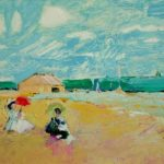 Pavillions with Red and Green Parasols- bowmanoilpaintings.co.uk