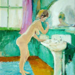 Figure at Washbasin - bowmanoilpaintings.co.uk