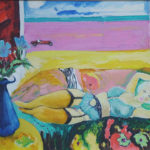 Interior with Model, and Pink Sand Through Window - bowmanoilpaintings.co.uk