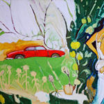 Nymph with Apple Tree and Red Car - bowmanoilpaintings.co.uk