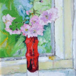 Pink Blossom in Red Glass Vase - bowmanoilpaintings.co.uk