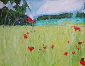 Poppies down near the Lake - bowmanoilpaintings.co.uk