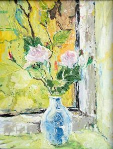 Roses in Blue and White Vase - bowmanoilpaintings.co.uk