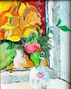 Studio Window with Red Rose - bowmanoilpaintings.co.uk