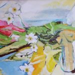 Vase of Flowers on Balcony - bowmanoilpaintings.co.uk