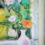 Wild White Roses with Orange Rose - bowmanoilpaintings.co.uk