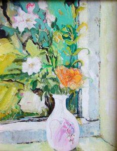 Wild White Roses with Orange Rose - bowmanoilpaintings.co.uk