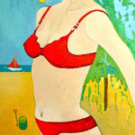 (Lady Luck) Pin Up with Beach Scene and Tree - bowmanoilpaintings.co.uk