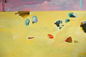 Shapes in the Sand with Pink Tree - bowmanoilpaintings.co.uk